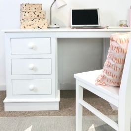 Children's Double Pedestal Desk - Silk White