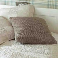 Moss Stitch Children's Cushion - Taupe