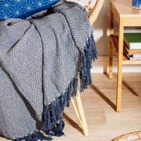 Blue Herringbone Blanket Throw