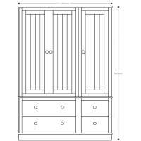 Charterhouse Three Door Wardrobe - Antique White