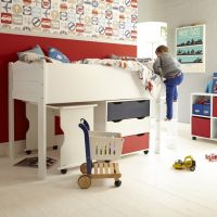 Juicy Fruits Childs Mid Sleeper Bed, Children's Wooden Mid Sleeper Bed, Children's Mid Sleeper Bed