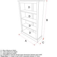 Milne Kids Wooden Bookcase Size Specifications, Childs Wooden Bookcase Size Specifications, Childrens Wooden Bookcase Size Specifications