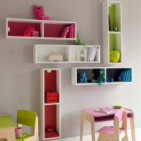 Mondrian Wooden Bookshelf. Available in Various Colours, Making it Well Suited for your Children's Furniture Collection.