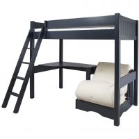 Warwick Childs Wooden High Sleeper Bed, Childs High Sleeper Bed, Kids Blue High Sleeper Bed with Futon
