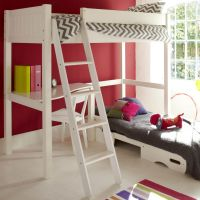 Warwick Childs Wooden High Sleeper Bed, Childs High Sleeper Bed, Kids White High Sleeper Bed & Futon