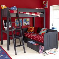 Warwick Wooden High Sleeper Bed with Daybed, Childs High Sleeper Bed, Wooden High Sleeper Bed