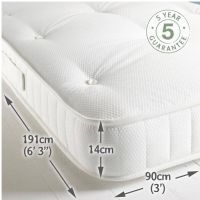 Children's Raised Bed Mattress Super Deluxe - White Waffle (single)