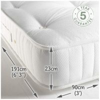 Children's Pocket 1000 Raised Bed Mattress - White Waffle (single)