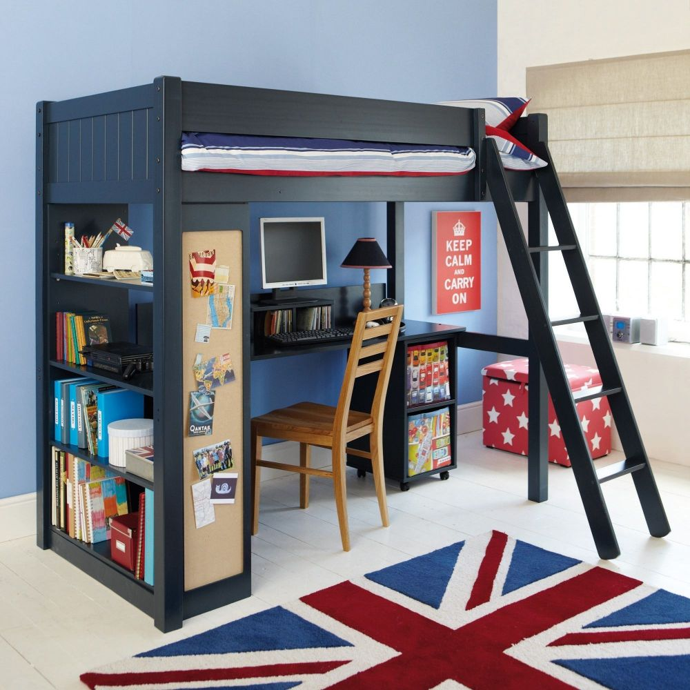 Warwick High Sleeper With Childs Bookcase - Prussian Blue