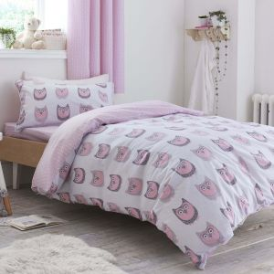 Owl & Ditsy Reversible Children's Duvet Set - Pink Cotton