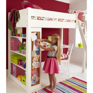 Warwick High Sleeper With Childs Bookcase - Silk White