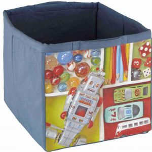 Fabric Children's Storage Tote - Blue Robot