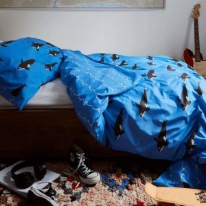 Orca Reversible Cotton Single Duvet Set - Blue