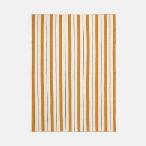 Ferm Living Cotton Pinstripe Blanket - Mustard