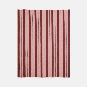 Ferm Living Cotton Pinstripe Blanket - Rose