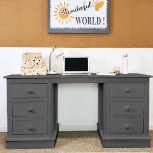 Children's Double Pedestal Desk - Dark Grey