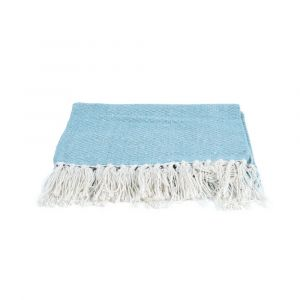 Dusky Blue Pure Cotton Throw