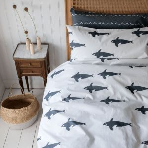 Orca Reversible Cotton Single Duvet Set - Grey