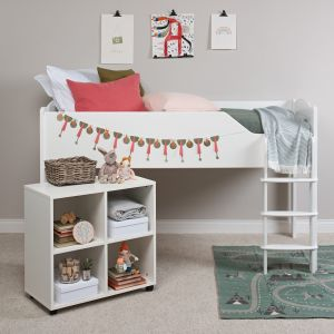 Juicy Fruits Mid Sleeper Bed (right-hand ladder) - Silk White