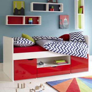 Southside Childs Wooden Cabin Bed, Childs Cabin Bed, Children's Red Cabin Bed