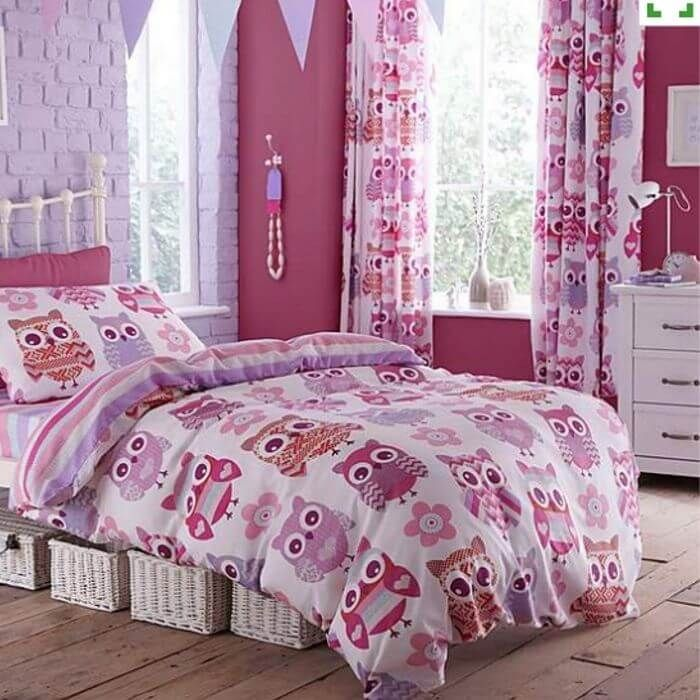 Bright Owl Reversible Children's Duvet Set - Pink