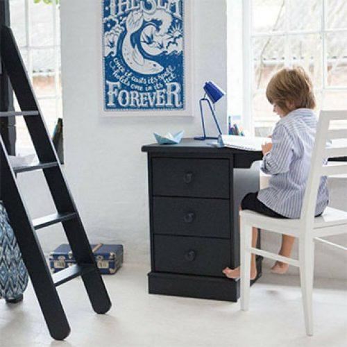 Pedestal Desk in Prussian Blue